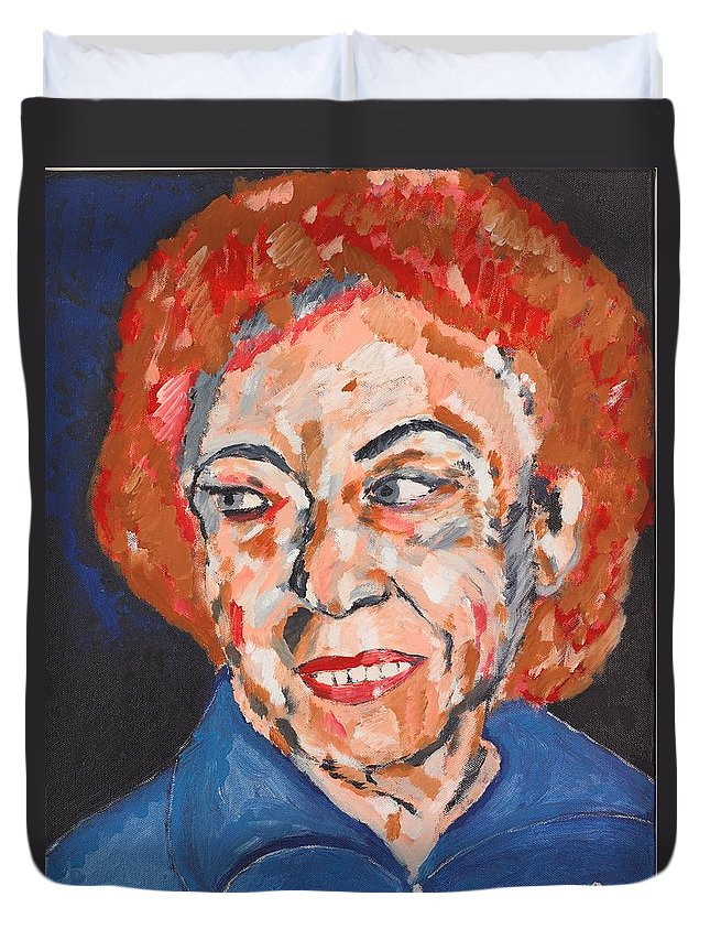 Portrait Duvet Cover featuring the painting Tamara by Valerie Ornstein