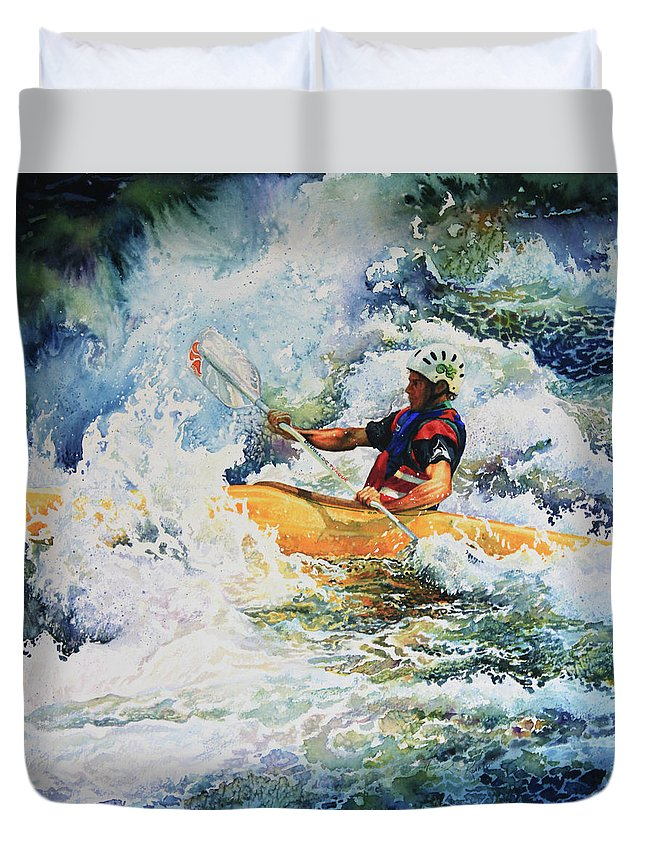 Sports Art Duvet Cover featuring the painting Taming Of The Chute by Hanne Lore Koehler