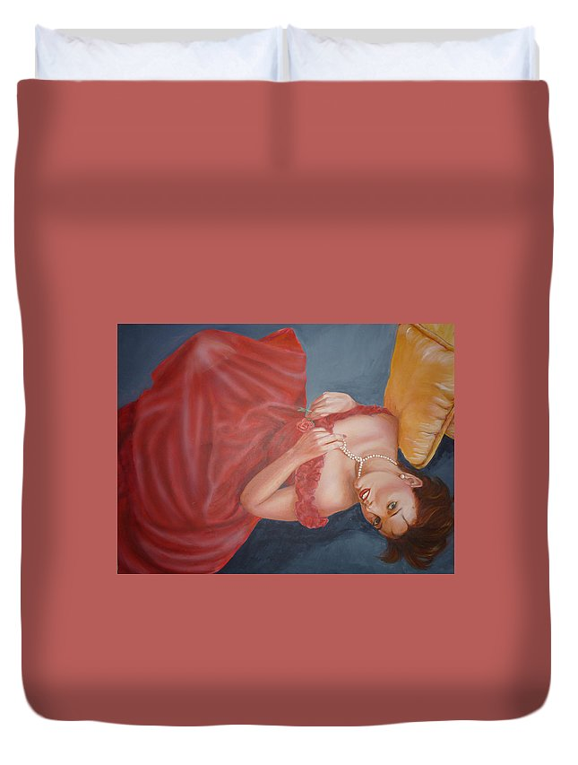 Romantic Duvet Cover featuring the painting Tammy by Bryan Bustard