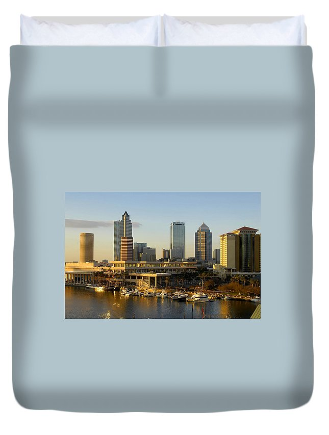 Tampa Bay Florida Duvet Cover featuring the photograph Tampa Bay And Gasparilla by David Lee Thompson