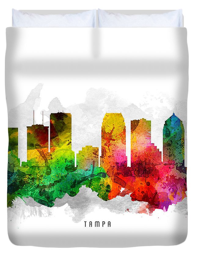 Tampa Duvet Cover featuring the painting Tampa Florida Cityscape 12 by Aged Pixel