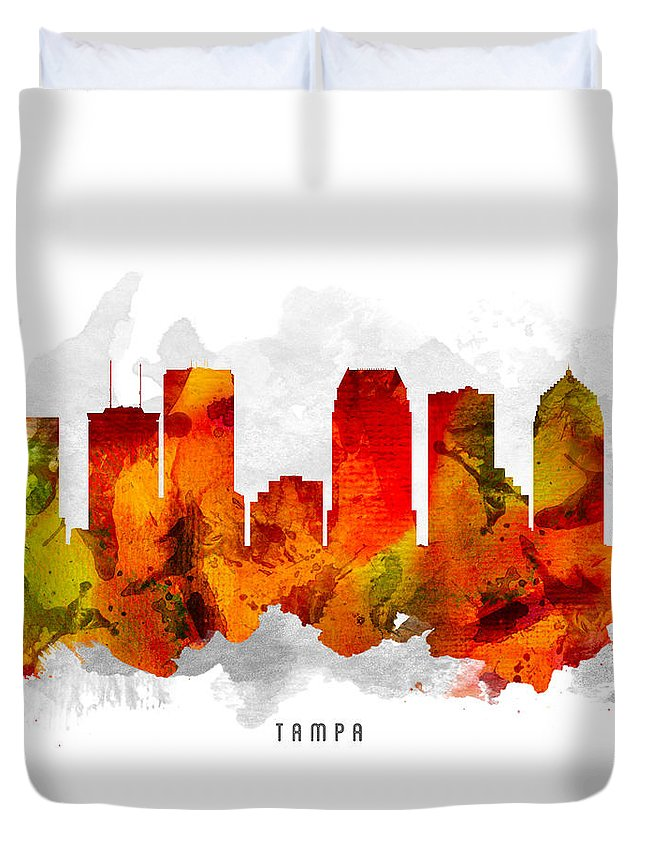 Tampa Duvet Cover featuring the painting Tampa Florida Cityscape 15 by Aged Pixel
