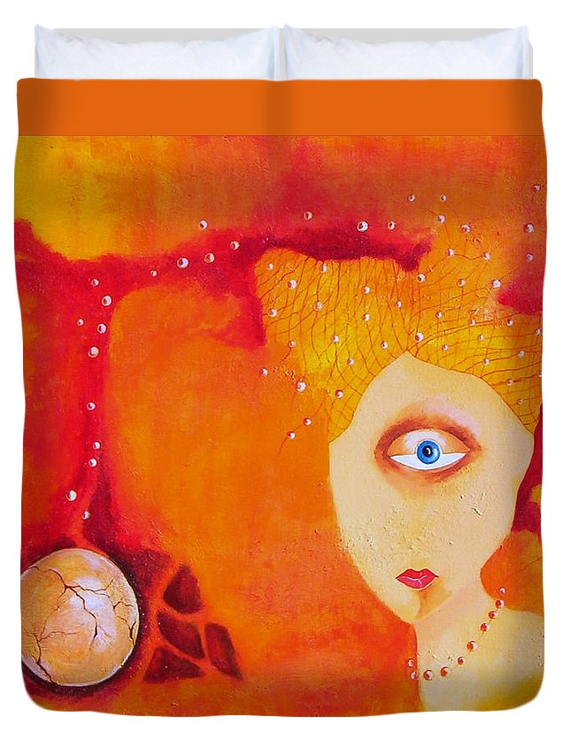 Tangerine Orange Eyes Woman Pearls Thoughts Life Egg Duvet Cover featuring the painting Tangerine Dream by Veronica Jackson