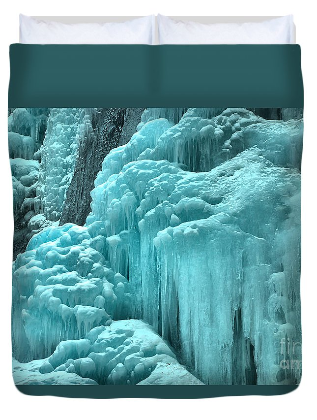 Winter Tangle Falls Duvet Cover featuring the photograph Tangle Falls Frozen Landscape by Adam Jewell