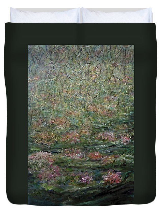Impressionistic Landscape Duvet Cover featuring the painting Tangled Charms by Sara Credito
