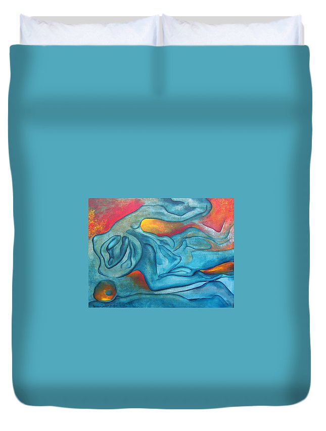 Abstract Blues Love Passion Sensual Earth Duvet Cover featuring the painting Tangled Up by Veronica Jackson