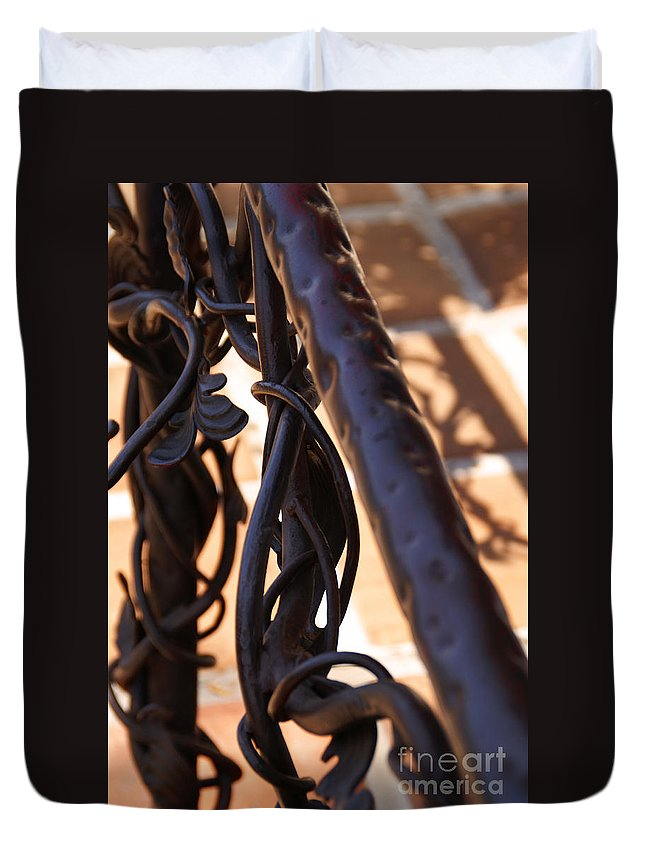 Rail Duvet Cover featuring the photograph Tangled Vines by Linda Shafer