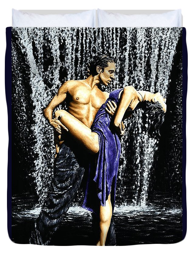 Tango Duvet Cover featuring the painting Tango Cascade by Richard Young