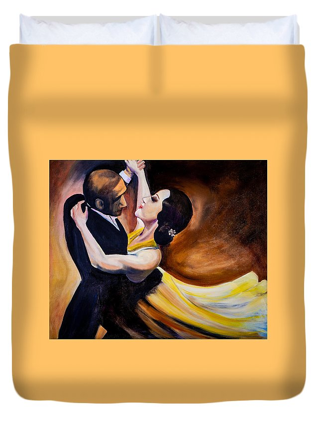 Argentinian Dancer Duvet Cover featuring the painting Tango De Argentina by Jenny anne Morrison