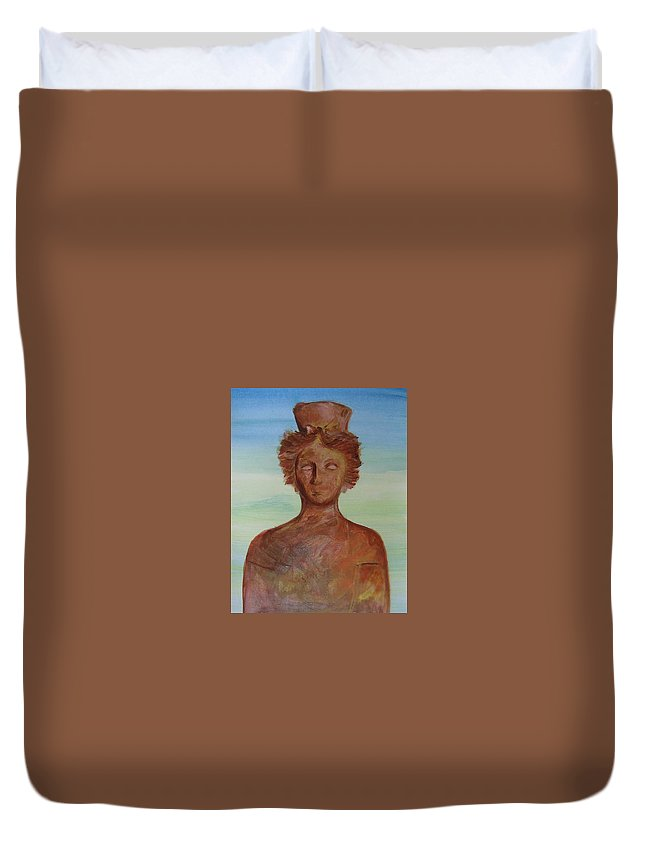 Icon Duvet Cover featuring the painting Tanit Mythical Godess Of Ibiza by Lizzy Forrester