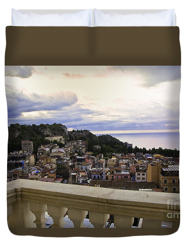 Taormina Duvet Cover featuring the photograph Taormina Balcony View 2 by Madeline Ellis