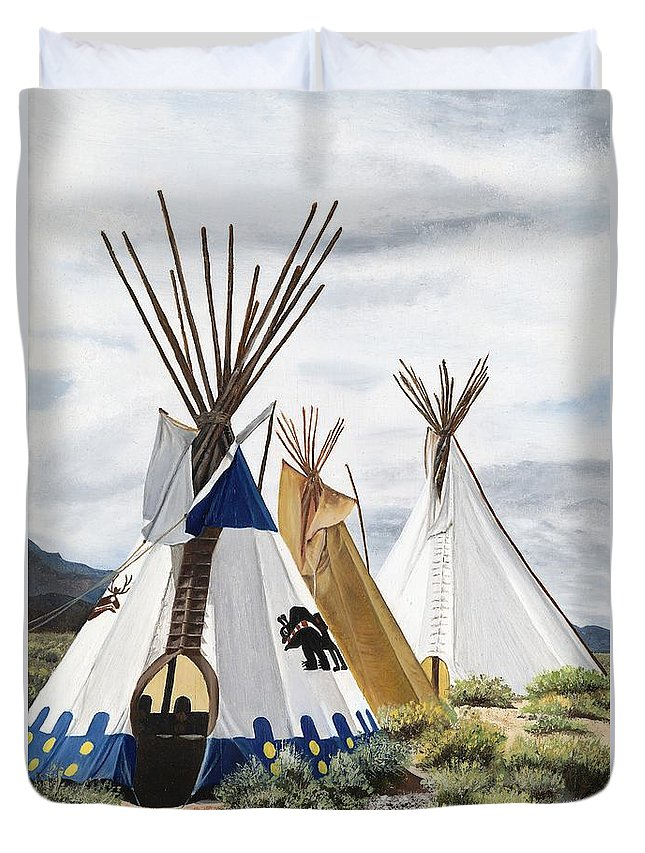 Art Duvet Cover featuring the painting Taos by Mary Rogers