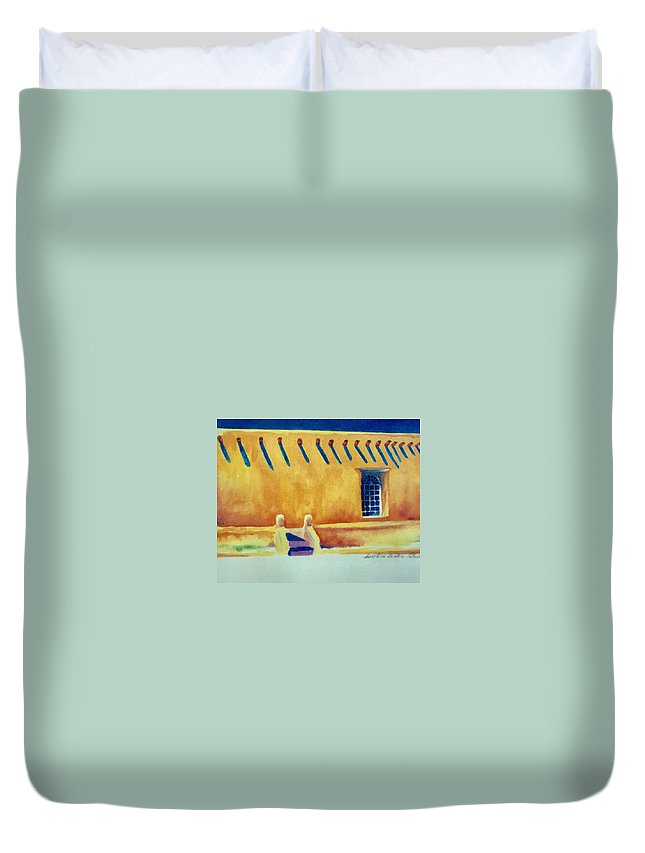 Taos Noon Duvet Cover featuring the painting Taos Noon by Caroline Patrick