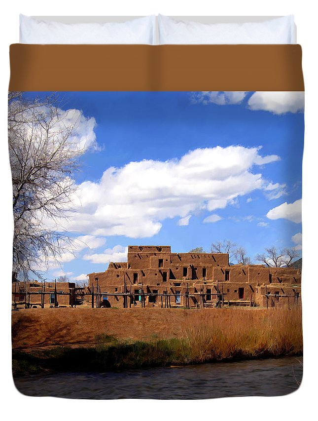 Taos Duvet Cover featuring the photograph Taos Pueblo Early Spring by Kurt Van Wagner