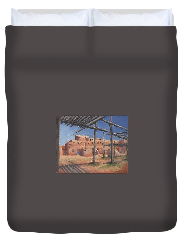 Taos Duvet Cover featuring the painting Taos Pueblo by Jerry McElroy