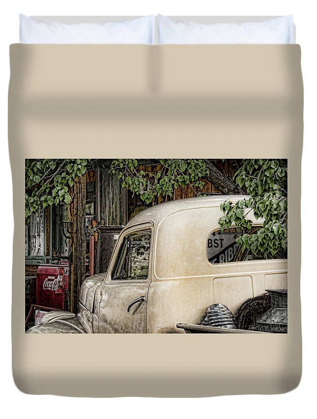 Taos Truck Duvet Cover featuring the photograph Taos Truck by Karen Seargeant