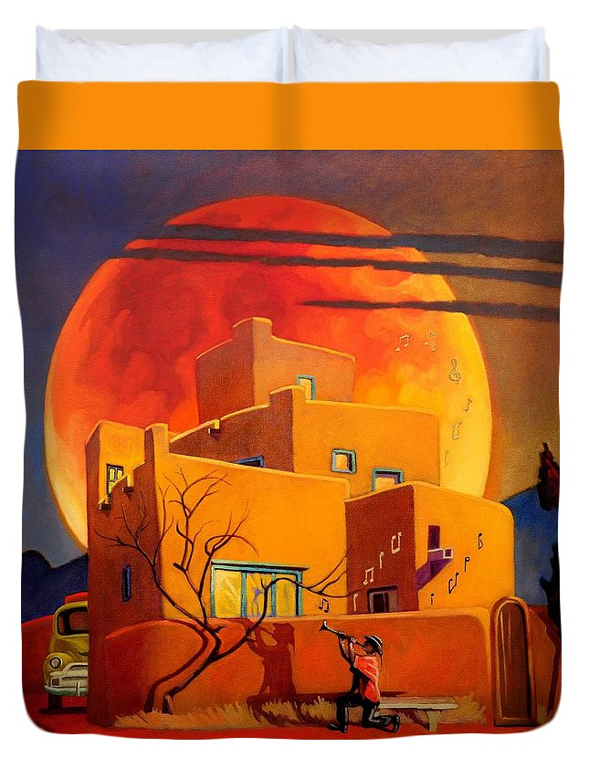 Rare Duvet Cover featuring the painting Taos Wolf Moon by Art West
