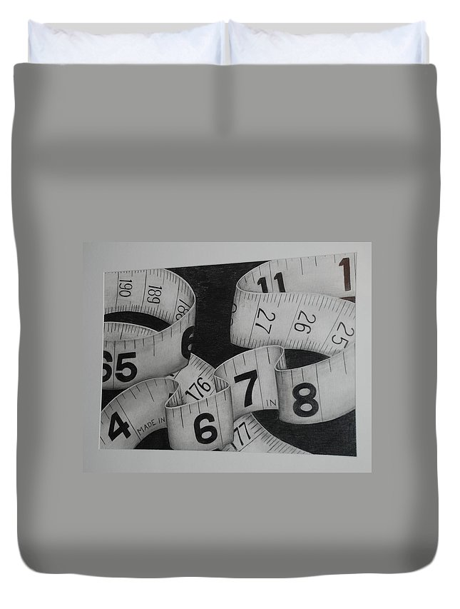 Numbers Duvet Cover featuring the photograph Tape Measure by Rob Hans