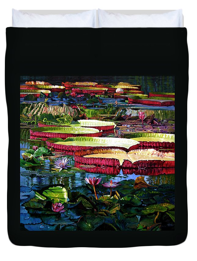 Landscape Duvet Cover featuring the painting Tapestry Of Color And Light by John Lautermilch