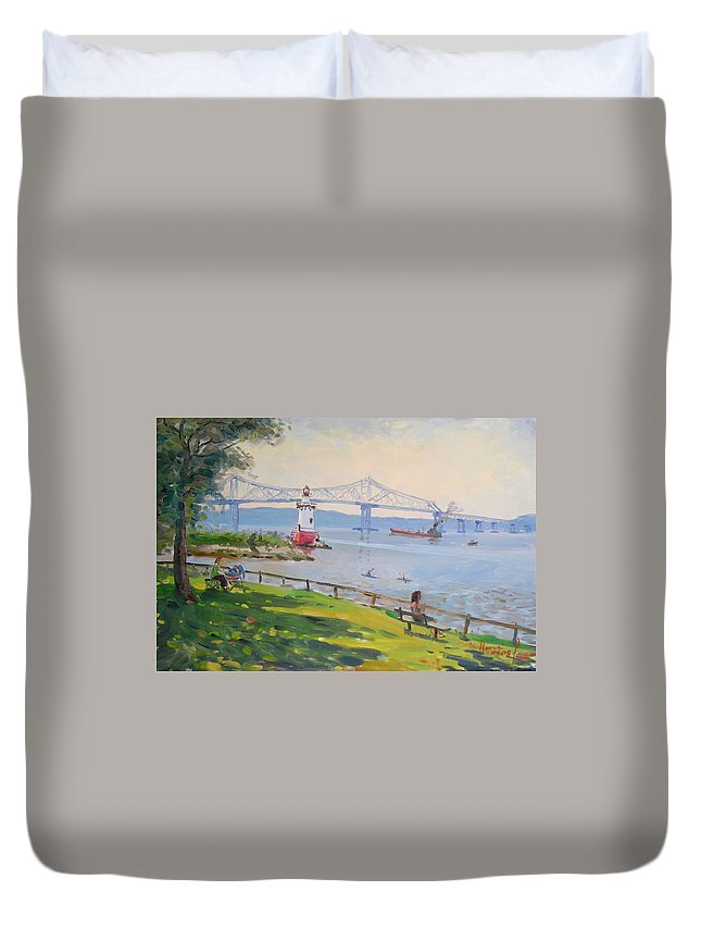 Tappan Zee Bridge And Light House Duvet Cover featuring the painting Tappan Zee Bridge And Light House by Ylli Haruni