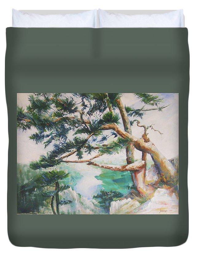 Oil Duvet Cover featuring the painting Tara by Jovica Kostic