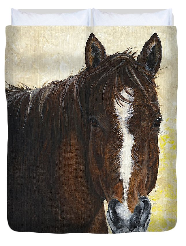 Horse Duvet Cover featuring the painting Tara by Twyla Francois