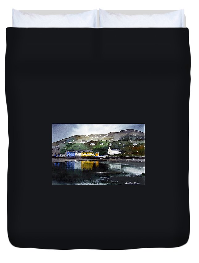 Scottish Fishing Harbour Duvet Cover featuring the painting Tarbert Reflections by Paul Dene Marlor