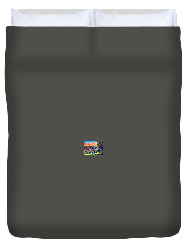 Landscape Duvet Cover featuring the painting Tarde De Sol by Leomariano artist BRASIL