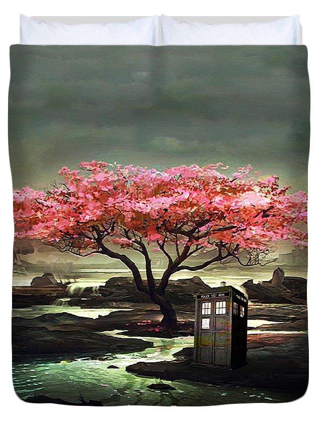 Tardis Duvet Cover featuring the painting Tardis Blossom by Koko Priyanto