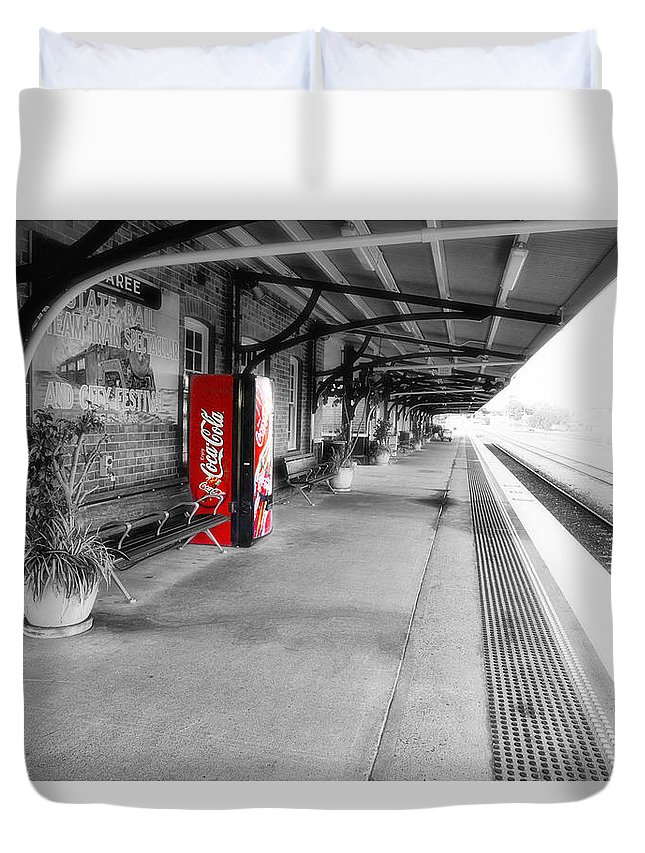 Taree Railway Station Duvet Cover featuring the photograph Taree Railway Station 0001 by Kevin Chippindall