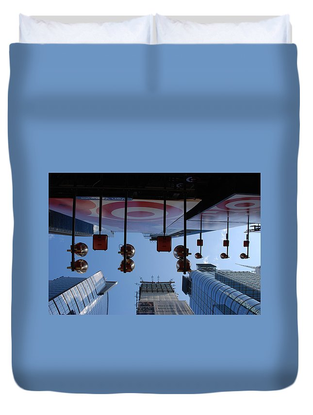 Architecture Duvet Cover featuring the photograph Target Lights by Rob Hans