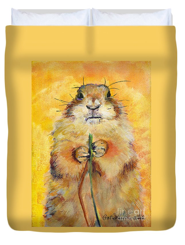 Prairie Dog Painting Duvet Cover featuring the painting Target by Pat Saunders-White