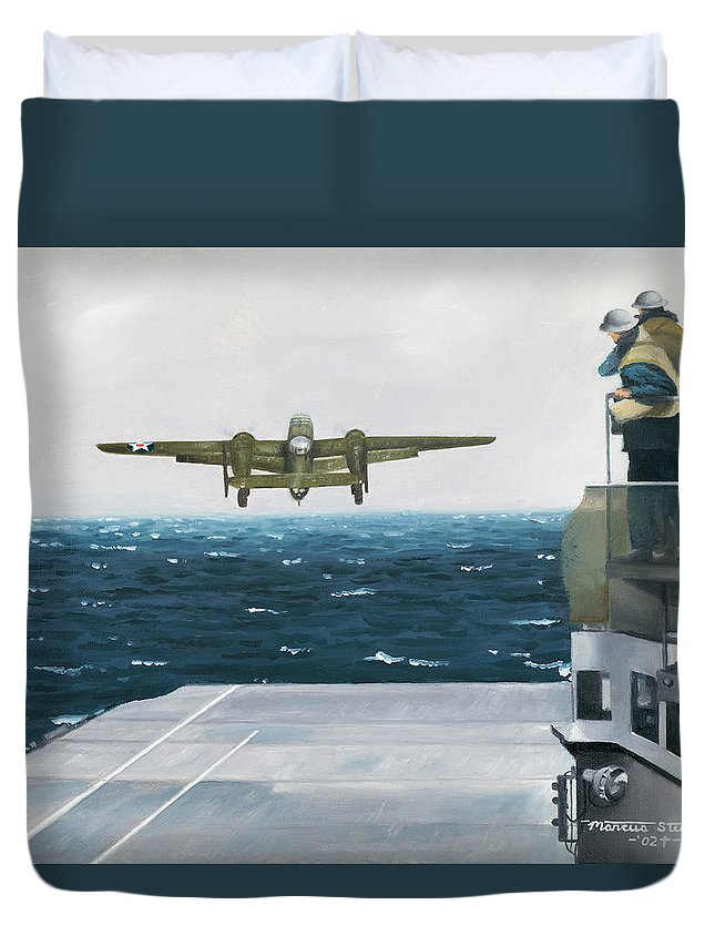 Aviation Duvet Cover featuring the painting Target Tokyo by Marc Stewart