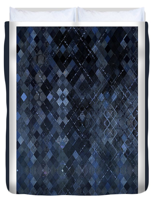 Targyle Duvet Cover featuring the mixed media Targyle Pitch Black Pattern 1 by Revere La Noue