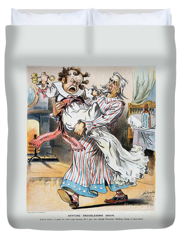 1896 Duvet Cover featuring the photograph Tariff Cartoon, 1896 by Granger