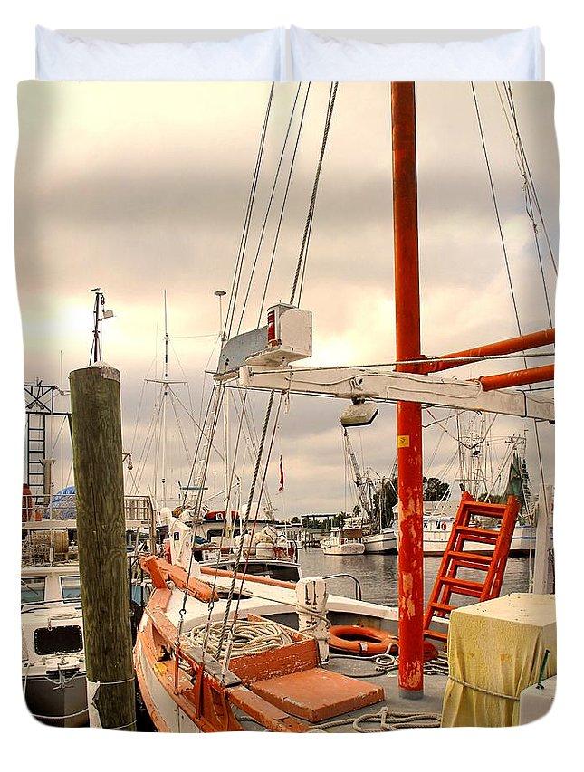 Florida Duvet Cover featuring the photograph Tarpon Springs Harbor by Ian MacDonald