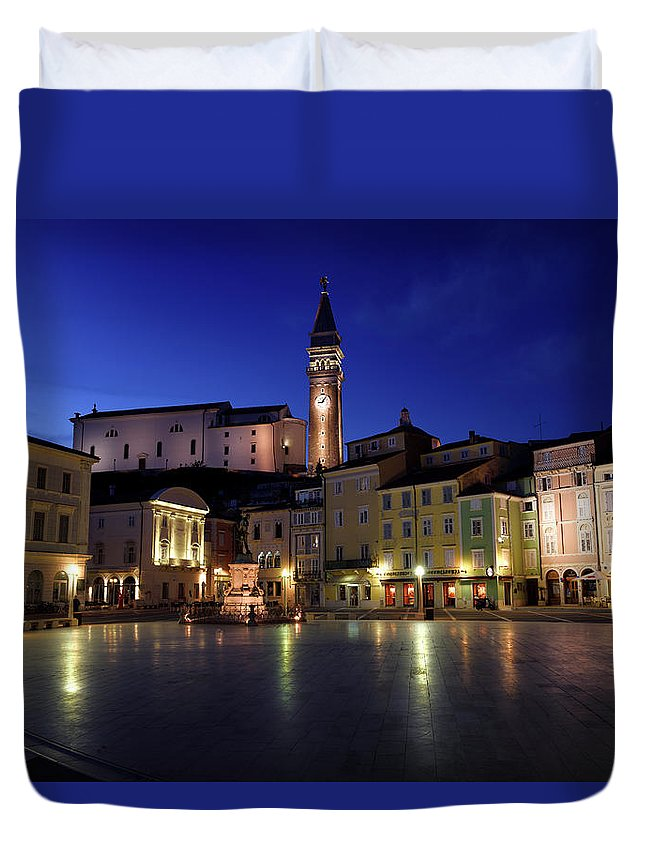 Dusk Duvet Cover featuring the photograph Tartini Square Plaza In Piran Slovenia With City Hall, Tartini S by Reimar Gaertner