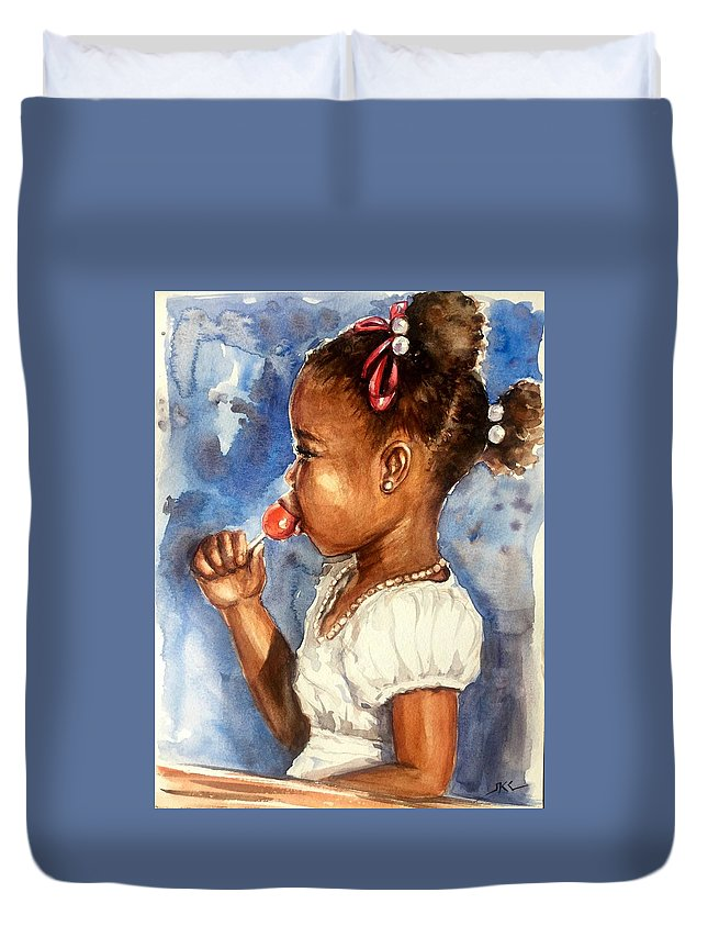 A Girl Duvet Cover featuring the painting Taste Of The Sweet Life by Katerina Kovatcheva