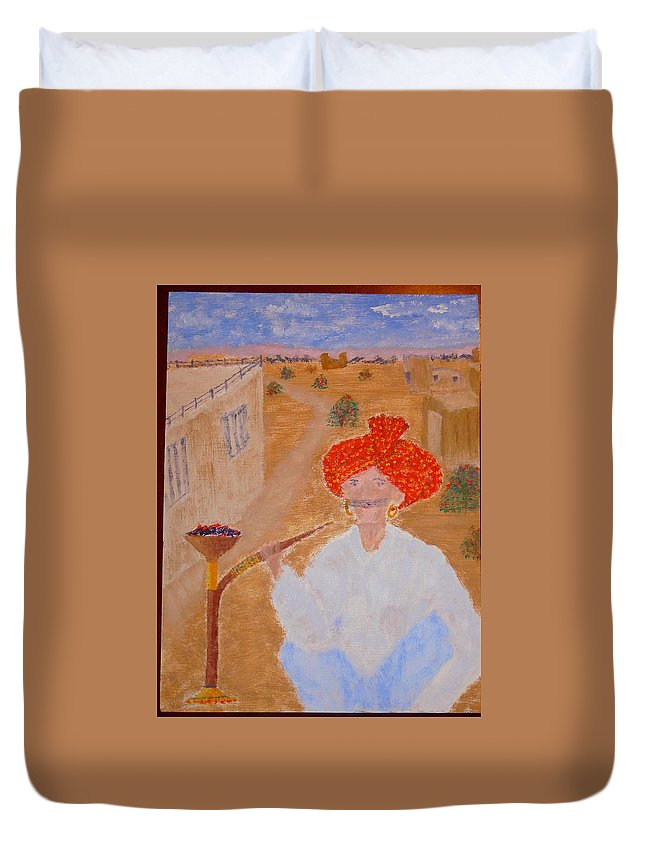 People Duvet Cover featuring the painting Tau by R B