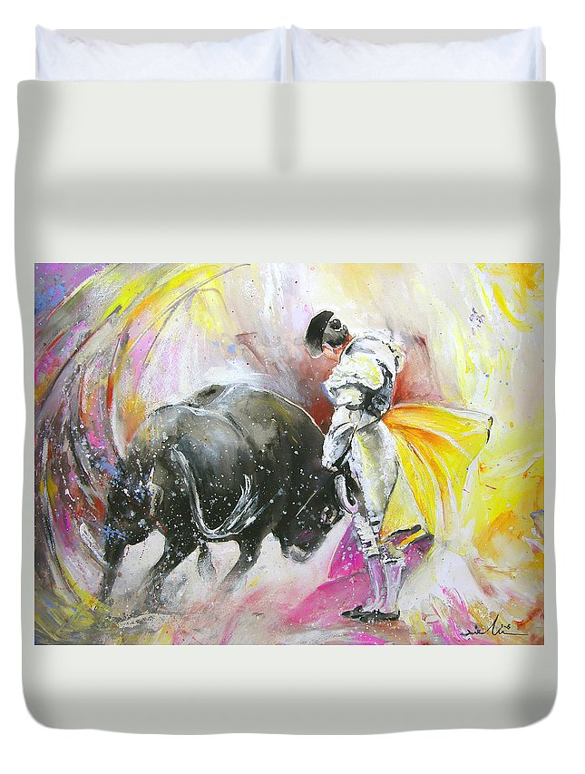 Animals Duvet Cover featuring the painting Taurean Power by Miki De Goodaboom