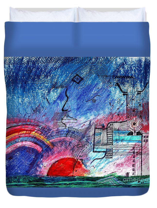 Taurus Duvet Cover featuring the digital art Taurean Sunset by Andy Mercer