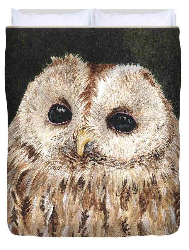 Watercolor Painting Duvet Cover featuring the painting Tawny Owl by Tonya Butcher