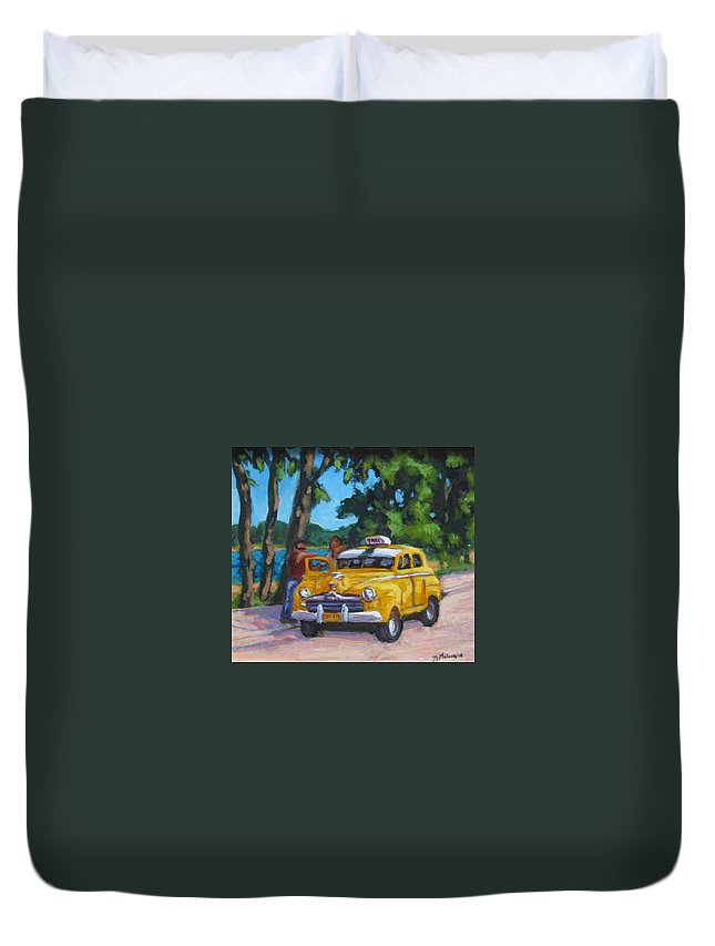 Old Cars Duvet Cover featuring the painting Taxi Y Amigos by John Malone