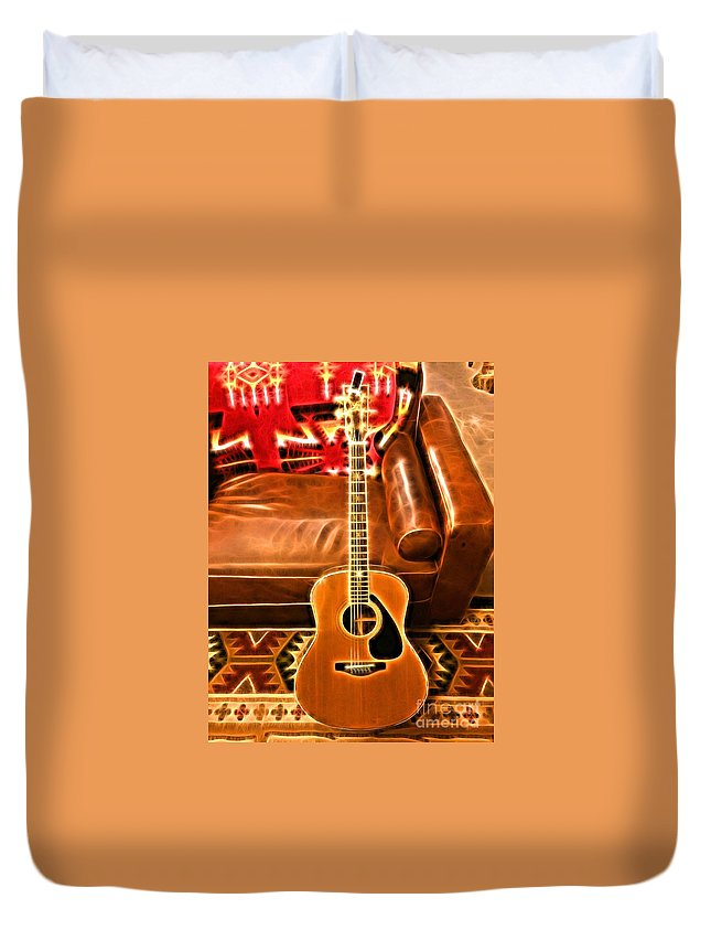 Guitar Duvet Cover featuring the digital art Taylor Classic by Sue M Marshall