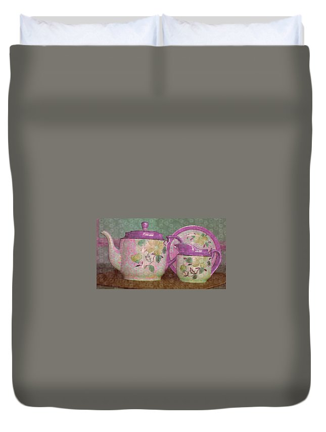 Tea Duvet Cover featuring the photograph Tea Anyone by Donna Bentley