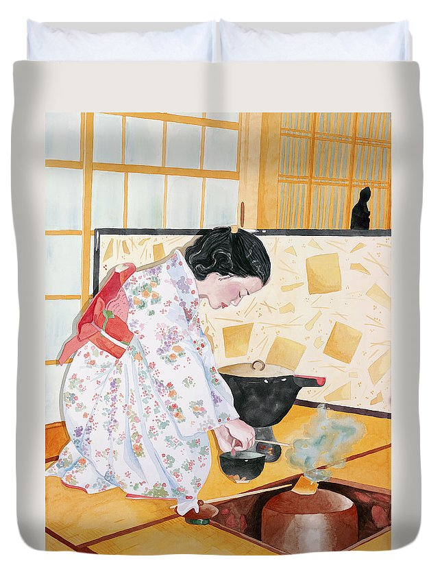 Japanese Woman Performing Tea Ceremony Duvet Cover featuring the painting Tea Ceremony by Judy Swerlick