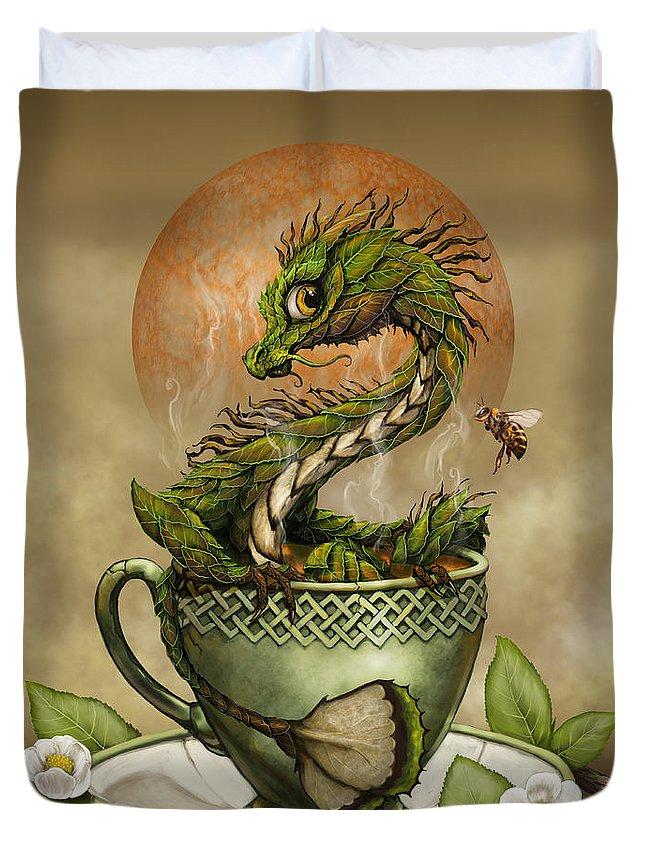 Tea Duvet Cover featuring the digital art Tea Dragon by Stanley Morrison