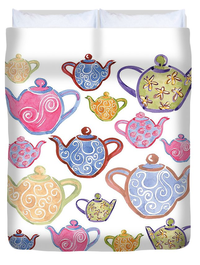 Tea Duvet Cover featuring the digital art Tea For Two by Sarah Hough