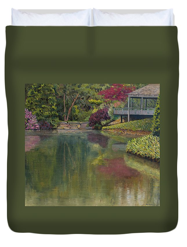 Impressionist Duvet Cover featuring the painting Tea House by Don Perino
