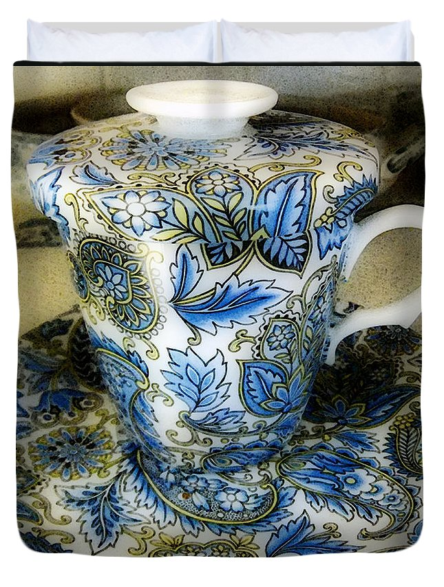 Asian Duvet Cover featuring the digital art Tea Is Served by RC DeWinter